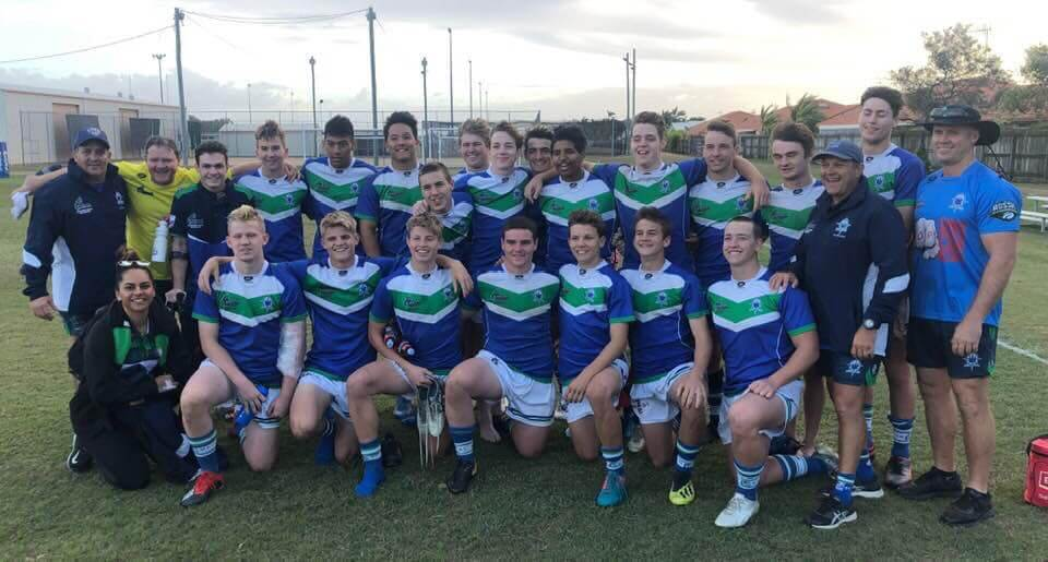 Strength and Conditioning Coach - Rachel Warcon with the TCC boys after their grand final loss at the 2019 Confraternity Shield Rugby League Competition